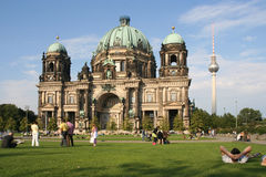 Tourists at Berlin cathedral Stock Images