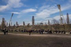 Tourists beside Berlin Wall, Berliner Mauer Stock Image