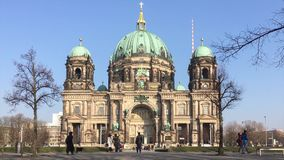 Tourists at Berliner Dom, Berlin Cathedral, on Museum Island in Berlin, Germany stock video