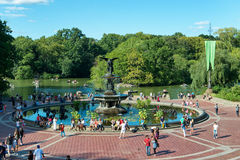 Tourists at Bethesda Fountain in NYC Central Park Stock Images