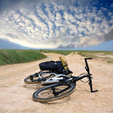 Tourists bicycle on road. Tourists bicycle on rural road stock images