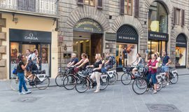 Tourists on bicycle tour to Florence. Italy stock photography