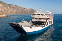 Tourists on board the Ferry from Agia Roumeli to Paleochora Royalty Free Stock Images