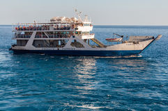 Tourists on board the Ferry from Agia Roumeli to Paleochora Stock Images