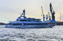 Tourists boat on Elbe river in Hamburg Stock Photography
