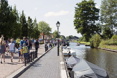 tourists on the boat in Giethoorn stock images