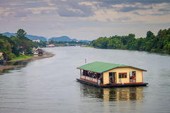 Tourists on a boat at the river Kwai Royalty Free Stock Images