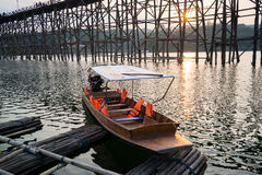 Tourists boat at Sangkhlaburi Royalty Free Stock Photography