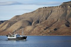Tourists boat, Svalbard, Norway Stock Images