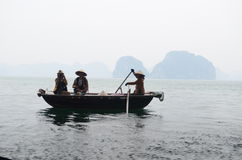 Tourists on a boat in Vietnam Stock Photos