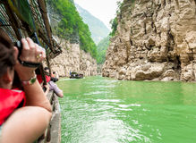 Tourists in a boat on the Yangtze River Royalty Free Stock Images