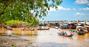 Tourists boats in Ben Tre, Mekong delta , Vietnam. Stock Image