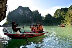 Tourists boats  of Ha Long Bay Vietnam Stock Images