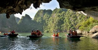 Tourists boats  of Ha Long Bay Vietnam Royalty Free Stock Image