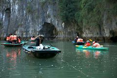 Tourists boats  of Ha Long Bay Vietnam Royalty Free Stock Photos