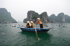 Tourists on boats in Halong Bay Stock Images
