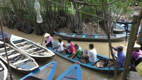 Tourists in boats at Mekong River, Vietnam stock video
