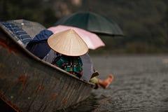 Tourists in boats near Perfume Pagoda Royalty Free Stock Photos