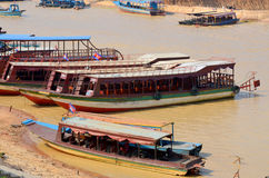 Tourists boats on the Tonle sap River Royalty Free Stock Photos