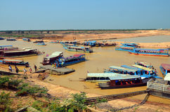 Tourists boats on the Tonle sap River Royalty Free Stock Photography
