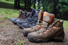 Tourists boots in forest camp Stock Image