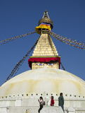Tourists at Boudhanath Stupa Stock Photos