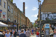 Tourists in Brick Lane on a busy sunny Sunday Stock Images