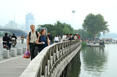Tourists on the bridge Royalty Free Stock Photos