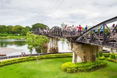 Tourists on the bridge over the river Kwai Royalty Free Stock Photos