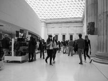 Tourists at British Museum in London black and white
