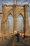 Tourists on Brooklyn Bridge Stock Photos