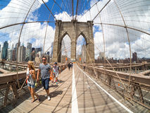 Tourists at the Brooklyn Bridge in New York Royalty Free Stock Image