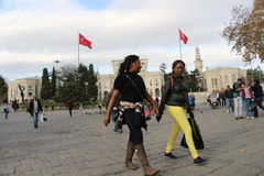 Tourists browsing in Beyazit Square İstanbul. Royalty Free Stock Photography