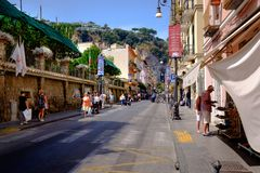Tourists shopping in Sorrnto, Italy. stock photo
