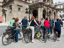 Tourists in Budapest on bikes Stock Photo