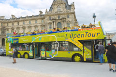Tourists bus in heart of Paris. France Royalty Free Stock Photo