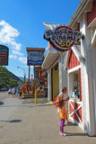 Tourists at businesses on the main road through Gatlinburg, Tenn Royalty Free Stock Image