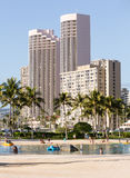 Tourists on busy beach of Waikiki Royalty Free Stock Photo