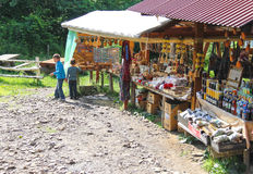 Tourists buy souvenirs in the historical and cultural reserve  Stock Photography
