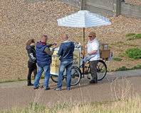 Tourists buying ice cream stock photos