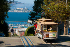 Tourists Cable Car Alcatraz Royalty Free Stock Photos
