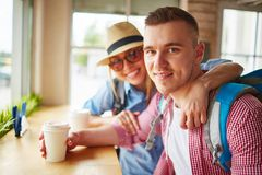 Tourists in cafe Stock Image