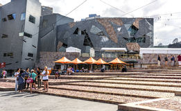 Tourists, Cafe, Buildings Federation Square, Melbourne Stock Image