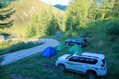 Camping in mountains. The tourists are camping in Guancen Mountain in Shanxi, China royalty free stock photos
