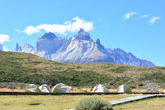 Tourists camping at Torres del Paine Natural Park, Chile Stock Image