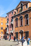 Tourists on Campo dei Frari in Venice Royalty Free Stock Photo