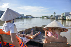 Tourists in Can Tho, Vietnam Royalty Free Stock Images