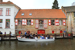 Tourists on a canal boat tour Royalty Free Stock Image