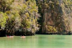 Tourists canoeing at Hong island, Phang nga bay Royalty Free Stock Photo