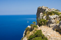 Tourists at Cape Formentor in the coast of Mallorca, Spain Royalty Free Stock Images